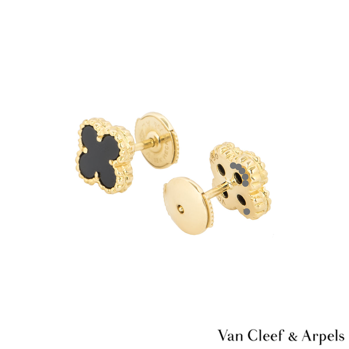 f5300386d3ba ... Van Cleef   Arpels Yellow Gold Onyx Sweet Alhambra Earrings VCARA44900  ...